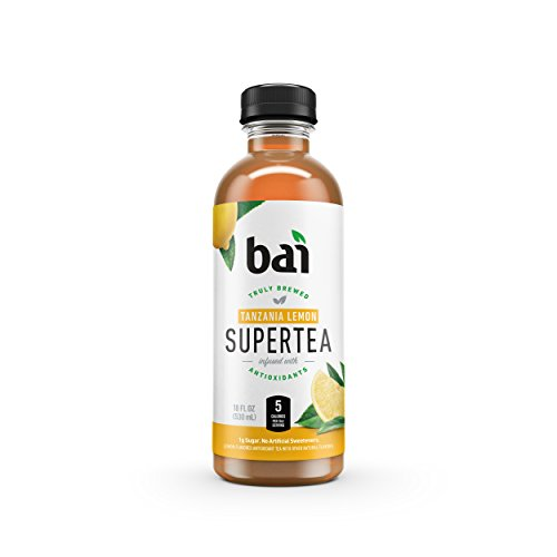- Bai Iced Tea, Tanzania Lemon, Antioxidant Infused Supertea, Crafted with Real Tea (Black Tea, White Tea), 18 Fluid Ounce Bottles, 12 count