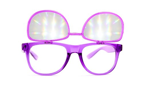 Flip Diffraction Glasses - High Quality Effect - Rave Accessories - Clear - Eye Love Sunglasses