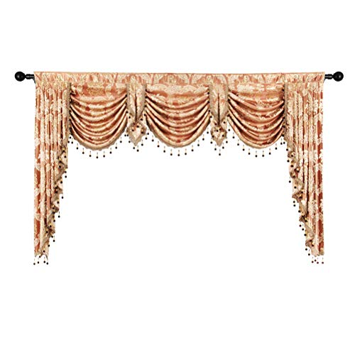 elkca Golden Jacquard Swag Waterfall Valance Luxury Curtain Valance for Living Room (Damask-Coffee, W79 Inch, 1 Panel) (For Living Room Curtains Valance With)