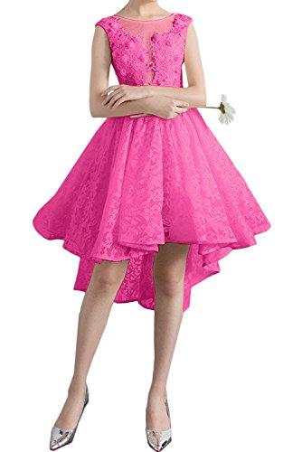 Sweetheart Spitzenkleid Damen Partykleider Rundkragen Ivydressing Abendkleider Kurz Dunkelrosa Promkleid 6q5wStSn