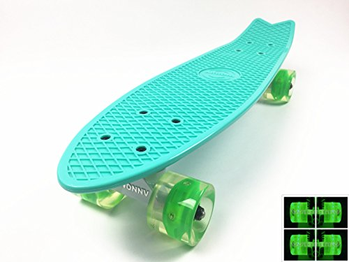 Wonnv Retro Mini Cruiser 22 inch Complete Skateboard (Mint deck with Green LED wheels)