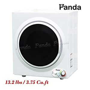 Panda PAN760SF-GPS Compact Stainless Steel Tumble Dryer Apartment, White and Black