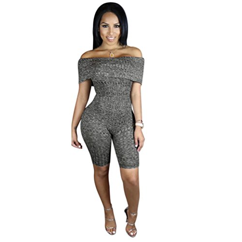 Hemlock Stretchy Bodycon Jumpsuit, Women Romper Slash Neck Top Short Pants (2XL, Grey)