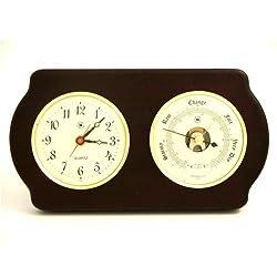 Bey Berk WS412 Brass Quartz Clock & Precision Barometer on Ash