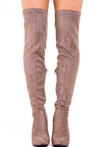 Khaki Thigh Heel Boots Pointed Womens High Toe Suede Shelikes Faux Stiletto wUqnA
