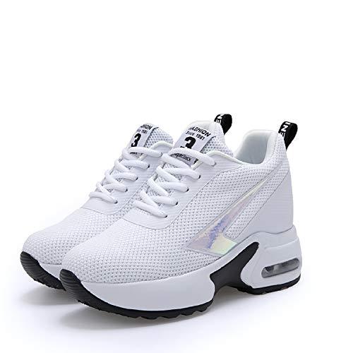 Ginnastica Con 8 Donna Interna Da Zeppa Sneakers Sportive Tacco Bianco  Casuale Aonegold Cm Scarpe qn40Sw5 77f69c2117b