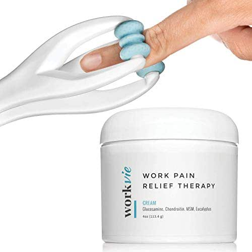 Workvie Hand Pain Relief Set - Acupressure Finger Massager Roller and Anti Inflammatory Pain Relief Cream - Arthritis, Carpal Tunnel, Wrist Pain