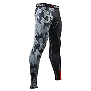 Athmile Men's Sports Compression Cool Dry Pants Workout Tights Running Base layer Leggings&Shirts for Hiking,Marathon,Basketball,Exercise and Fitness by Athmile