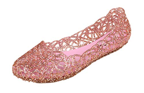 Kunsto Women's Bird Nest Jelly Ballet Flats US Size 11 Pink]()