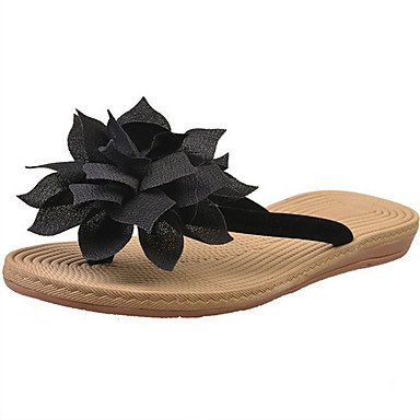 LvYuan Tacón Plano Tacón Cuña-Confort-Sandalias-Vestido Informal-Tejido-Negro Beige Black
