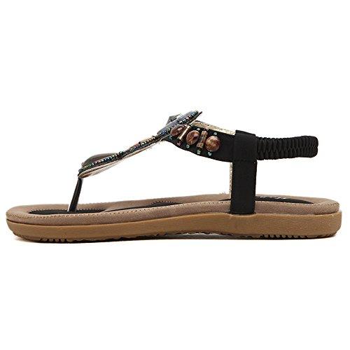 Damen Flip-Flops Sandalen Schuhe von Perlen Böhmen Stile Schwarz
