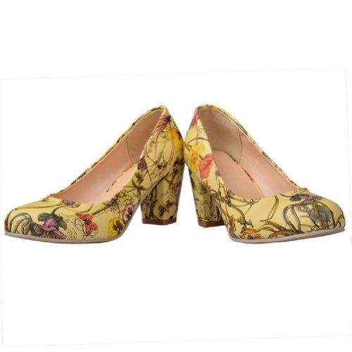 Heel Chunky Floral Charm Print Pumps Womens Fashion Yellow Foot High 66xXA0