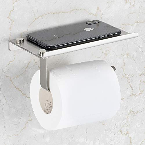 Bosszi Toilet Paper Holder with Phone Shelf Wall Mounted, SUS304 Stainless Steel Bathroom Accessories Tissues Roll Dispenser Storage Rack, - Paper Toilet Chrome Glass Holder