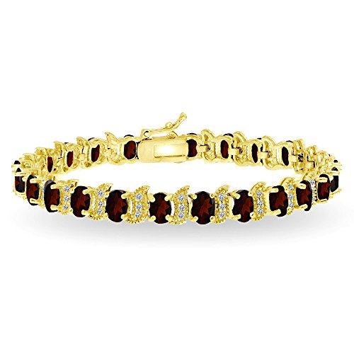 (GemStar USA Yellow Gold Flashed Sterling Silver Garnet 6x4mm Oval and S Tennis Bracelet with White Topaz Accents)