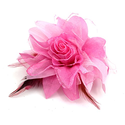 Bridal Wedding Hair Veil Decor Feather Flower Clip Bridesmaid Brooch Cathedral(Pink)