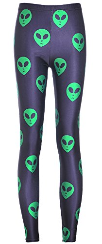 Christal Town Women's Soft Halloween Skulls Regular and Plus Leggings Pants C-Green Aliens in Black Plus Size (Size 12-24) -