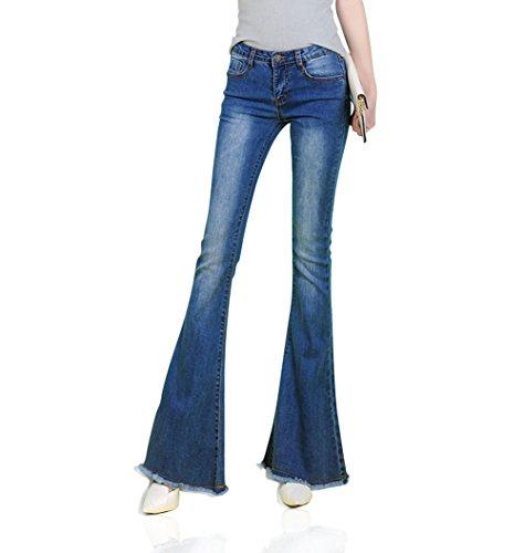 Mena Femmes des annes 60 des annes 70 Stretchy Jean Style Denim Bell-Bottom pompons Jeans Bleu