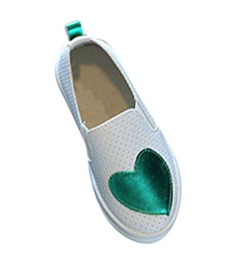 NiSeng Mädchen Sommer Hohl Schuhe Flache Bootsschuhe Halbschuhe Kinderschuhe Erbsenschuhe Halbschuhe Grün