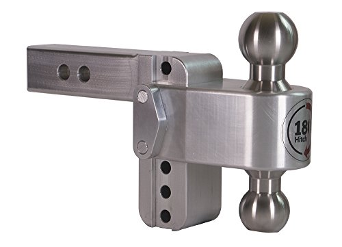 "Weigh Safe TB4-2, 4"" Drop 180 Hitch w/2"" Shank/Shaft, Adjustable Aluminum Trailer Hitch & Ball Mount, Stainless Steel Combo Ball (2"" & 2-5/16"")"