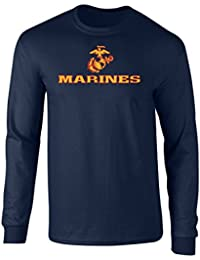 5f1eb200327d US Marines Two Tone Logo Graphic Long Sleeve Officially Licensed T Shirt