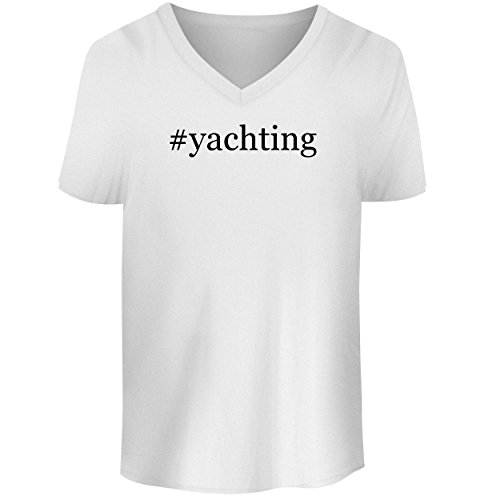 BH Cool Designs #Yachting - Men's V Neck Graphic Tee, White, X-Large ()