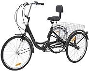 24 Inch Adult Tricycle Trike 3 Wheel Bike 6 Speed Shift 6-Speed Shimano Gears, Scout Trike + Shopping Basket