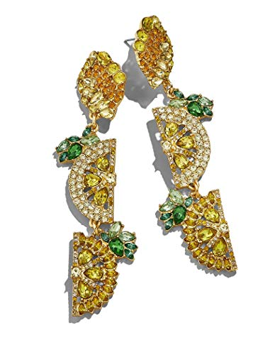 BEST LADY Cute Fruit Animals Drop Earrings - Statement Colorful Shining Crystal Dangle Earrings for Women Summer Holiday Jewelry (Lemon)