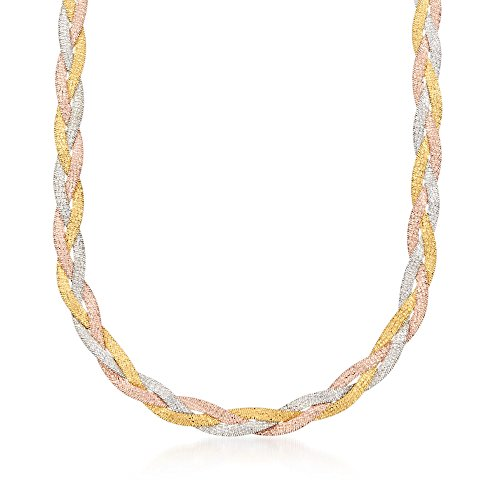 Ross-Simons Italian Tri-Colored Sterling Silver Reversible Braid Necklace