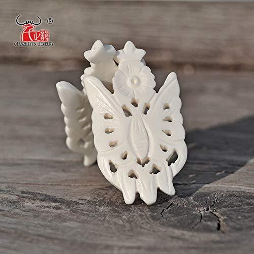 (Calvas 3PCS Natural Tibetan Yak Bone Carving Butterfly DIY Accessories.48x27mm - (Item Diameter: 48x27mm))