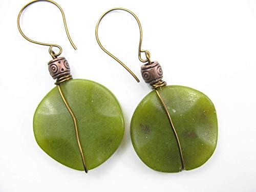 e Wrapped Natural Stone Earrings Boho Artisan Beaded Dangle Handcrafted Genuine Gemstone Jewelry for Women ()