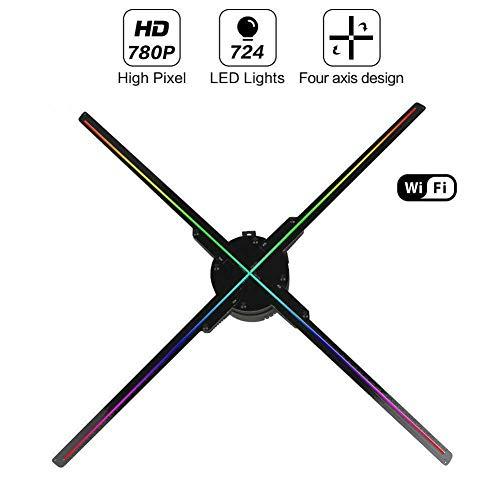 SDlamp WiFi 3D Hologram Projector Fan, Vier Axil Design Videoprojektor, LED-Display-Werbung Holographic Licht, APP…
