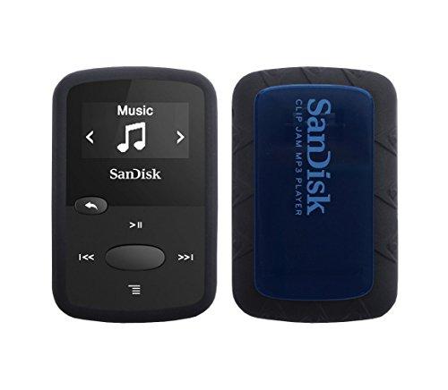 Negro de goma suave piel de silicona caso para mermelada SanDisk 8GB (sdmx26) Clip MP3Jugador, Negro