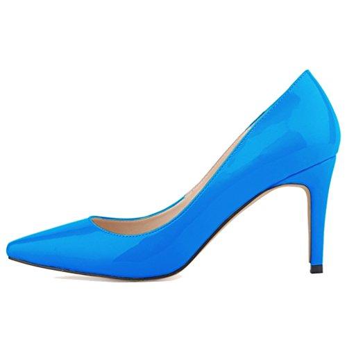 Pointu Hauts Stiletto Pumps Chaussures Verni À Femmes Xianshu Bleu Shallow Toe Cuir Talons Ciel Mouth En qwO8t70