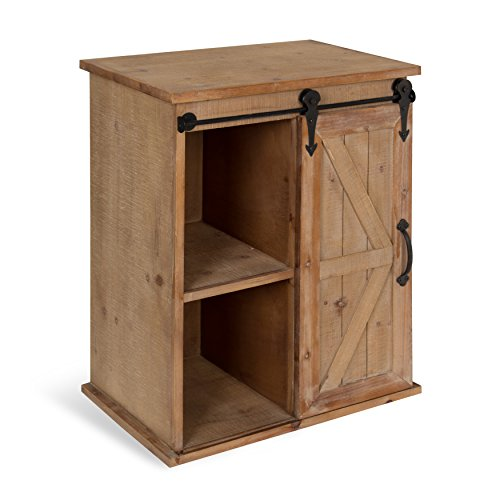 Kate and Laurel Cates Wooden Freestanding Storage Cabinet Side Accent Table with Sliding Barn Door, Rustic Brown For Sale