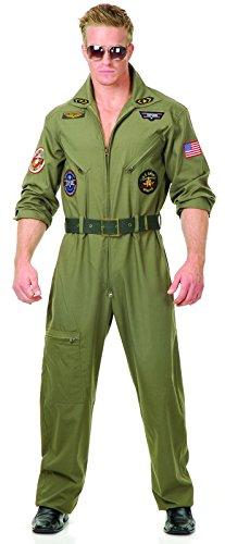 Top Gun Flight Suit Costume - Charades Men's Wingman Flight Jumpsuit And Belt, Olive Green, Medium