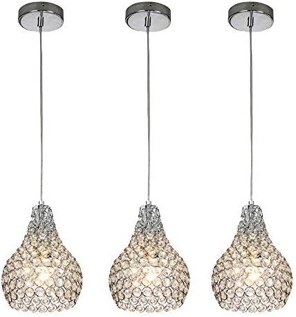 Popilion 3 Pack Ornate Chrome Crystal Ceiling Pendant Light, 3 Adjustable Pendant Lighting Fixture with Crystal Lampshade for Dinning Room Bedroom Loft Restaurant