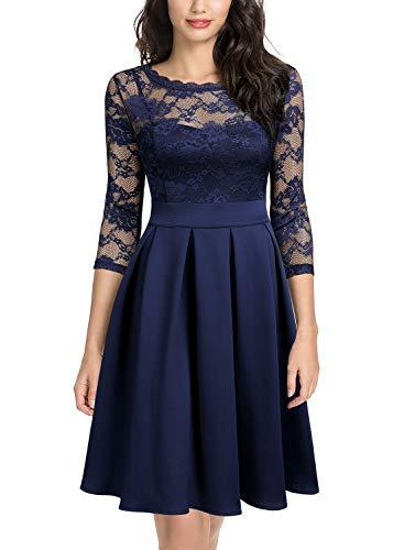 Miusol Women's Vintage Floral Lace 2/3 Sleeve Bridesmaid Party Dress,Medium,Navy Blue