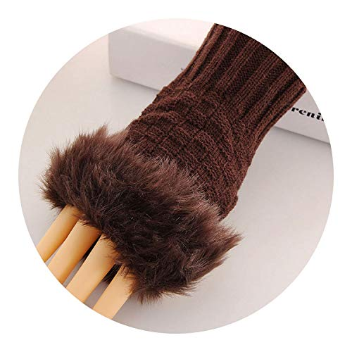 Women Casual Fur Faux Rabbit Knitted Gloves Soft Cotton Winter,coffee (Melbourne Furniture Sale)