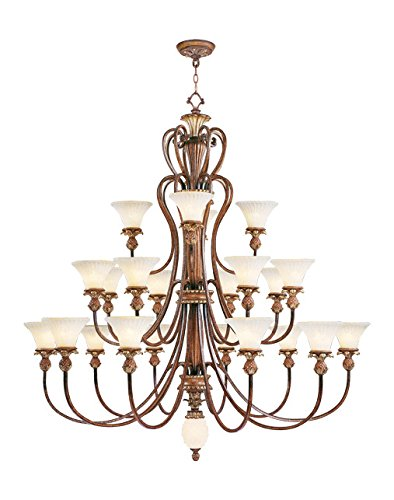 Venetian Patina 22 Light 880W Chandelier With Medium Bulb Base And Vintage Carved Scavo Glass From Savannah Series (Two Collection Light Savannah)