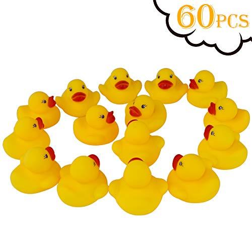 Guaren us 60-Pieces Float & Squeak Mini Rubber Duck Baby Bath Ducky Sound Shower Toys for Kids