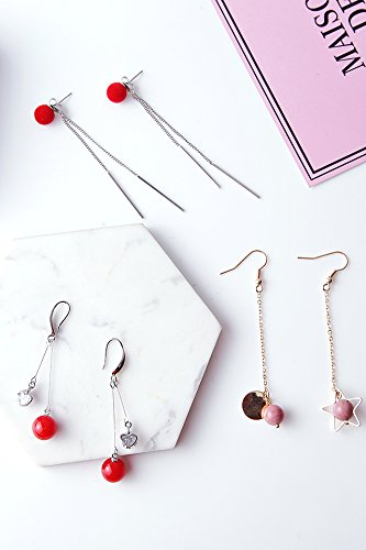 Creative (3 Pairs Suit) Earrings earings Dangler Eardrop Earrings Women Girls Long Personality Ear line red Geometric Star Fairy Nightclub Exaggerated Ear Flower Accessories