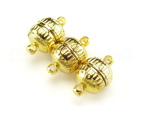 (CleverDelights 20 Sets Magnetic Jewelry Clasps - Deco Drum Style - Gold Color)