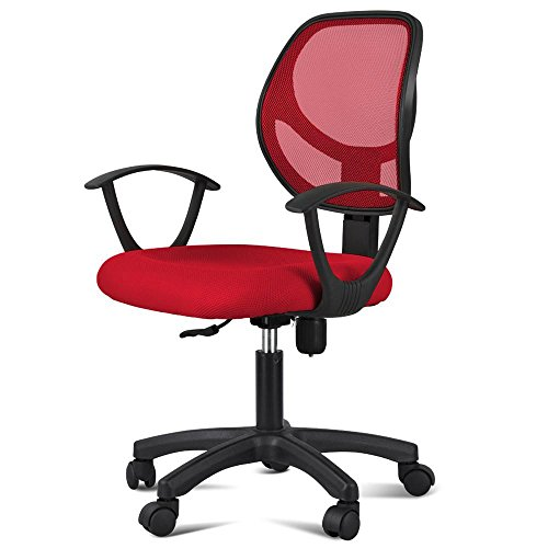 Yaheetech Modern Office Chair Mesh Fabric Cushion Mid Back Computer Chair Lumbar Support Desk/Task Chair with Arms/Wheels Red