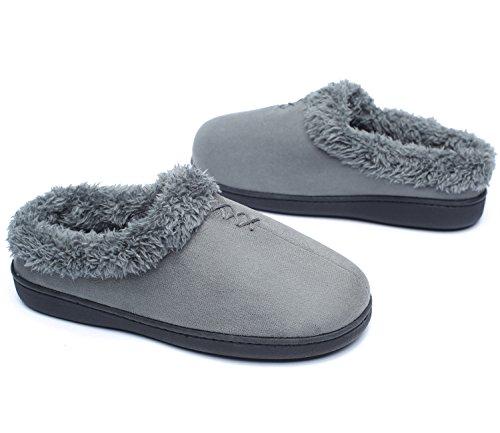Slippers Memory Warm Winter slip Gray Indoor with Women's Ofoot Foam TPR Velveteen Anti Sole zRw15qT