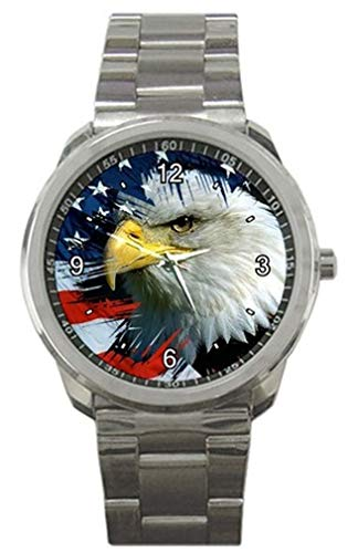 American Eagle and Flag on a Mens or Womens Silver Sports Watch -