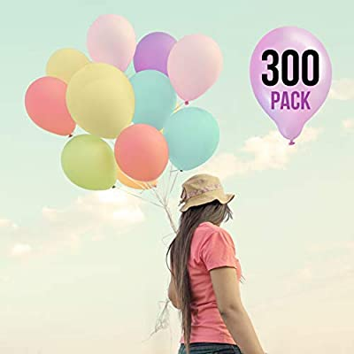 Prextex 300 Pastel Party Balloons 12 Inch 10 Assorted Rainbow Candy Colors - Bulk Pack of Strong Latex Macaron Balloons for Party Decorations, Birthday Parties Supplies or Arch Decor - Helium Quality: Toys & Games