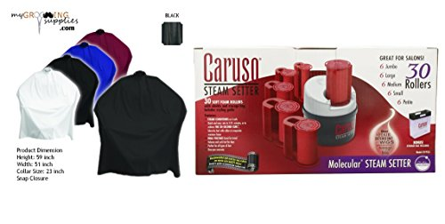 (MGS Black Cape & Caruso C97953 30 Molecular Steam Hairsetter with 30 Rollers Bundle)