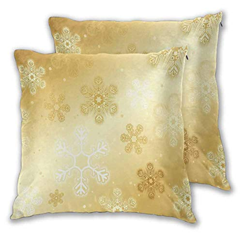 Christmas Sofa Hug Pillowcase Snowflakes Pattern on Gold Color Background Noel Holiday Yule Winter Themed Artsy Image for Home Decor Sofa Bedroom Car (2 PCS, 22x22 Inch) Gold (Background Christmas Artsy)