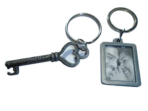 2 Pack Keychain and Keyring Set - Key to my Heart and Photo Keychain - Great Gift for Those You Love by Butler in the Home (Key to My Heart - Heart Ring Key Photo