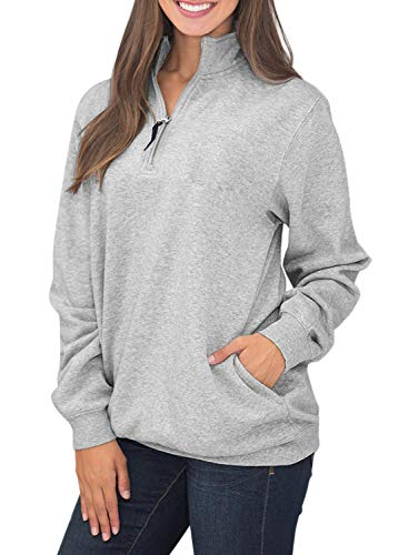 Samefar Women Ladies Long Sleeve High Neck Comfy Fuzzy Quarter Zip Pullover Sweatshirts Tunic with Pockets Gray Medium (Plain Quarter Zip Pullover)